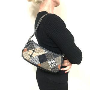 New Fossil leather canvas patchwork shoulder bag